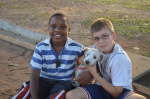 Asher and Beethoven with Gerson, Asher's friend from school who is Beethoven's new owner